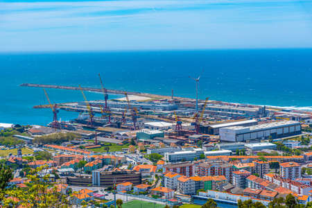Aerial view of port at Viana do Castelo in Portugal Stock Photo