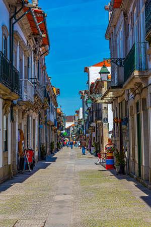 Narrow street in the historical center of Viana do Castelo in Portugal