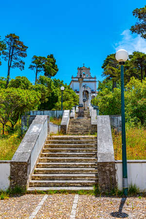 Stairway leading to the sanctuary our lady of incarnation in Leiria, Portugal Stock Photo - 135258453
