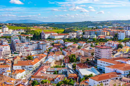 Aerial view of cityscape of Leiria, Portugal