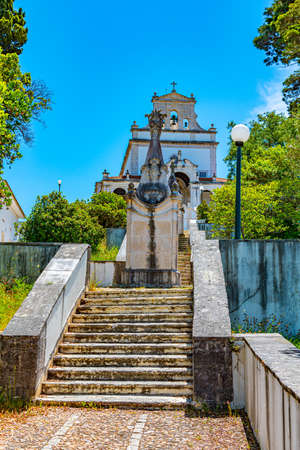 Stairway leading to the sanctuary our lady of incarnation in Leiria, Portugal Stock Photo