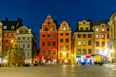 Night view of Stortorget square at Gamla Stan quarter of Stockholm, Sweden Editorial