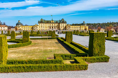 Drottningholm Palace viewed from the royal gardens in Sweden Editorial