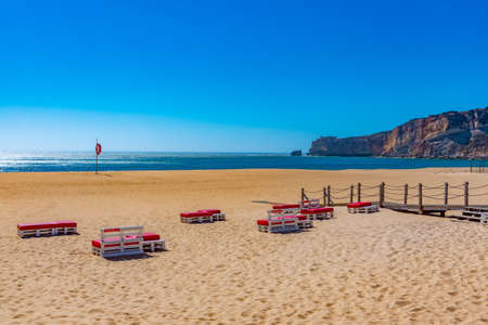 View of a beach in Nazare in Portugal