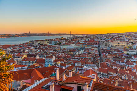 Sunset view of cityscape of Lisbon with Santa Justa lift, Portugal