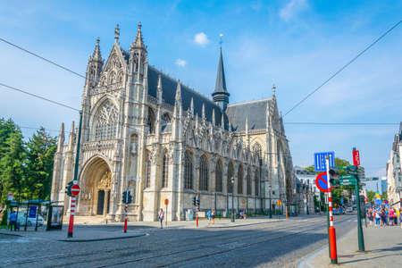 BRUSSELS, BELGIUM, AUGUST 4, 2018: Church of notre dame du Sablon in Brussels, Belgium