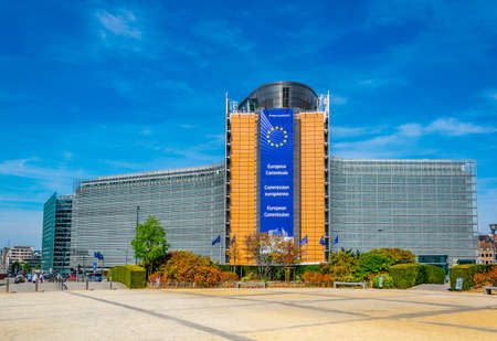 BRUXELLES, BELGIO, 4 AGOSTO 2018: Edificio Berlaymont della Commissione europea a Bruxelles, Belgio Archivio Fotografico