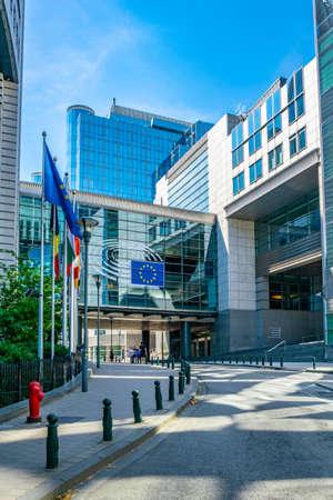 BRUSSELS, BELGIUM, AUGUST 4, 2018: Building of the European Parliament in Brussels, Belgium