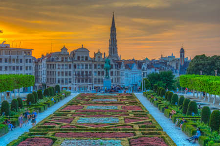 BRUSSELS, BELGIUM, AUGUST 4, 2018: People are enjoying sunset at the park Mont des Arts in Brussels, Belgium