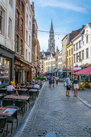 BRUSSELS, BELGIUM, AUGUST 4, 2018: View of a narrow street leading to the Grote Markt in Brussels, Belgium Stock Photo