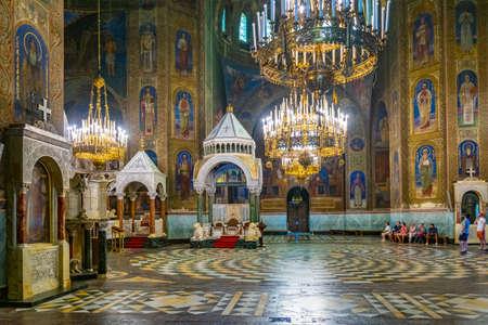 SOFIA, BULGARIA, SEPTEMBER 2, 2018: Interior of the Cathedral of Saint Alexander Nevski in Sofia, Bulgaria