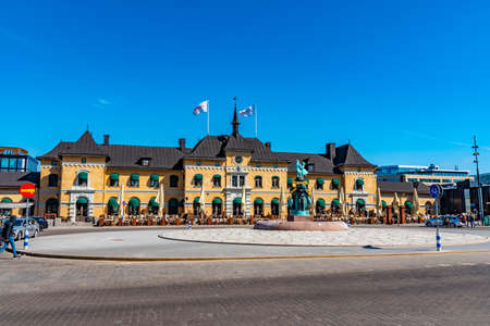 UPPSALA, SWEDEN, APRIL 22, 2019: View of the main train station in the swedish city Uppsala