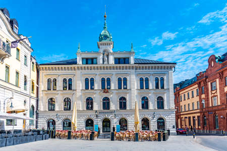 UPPSALA, SWEDEN, APRIL 22, 2019: Stora Torget main square in the central Uppsala, Sweden