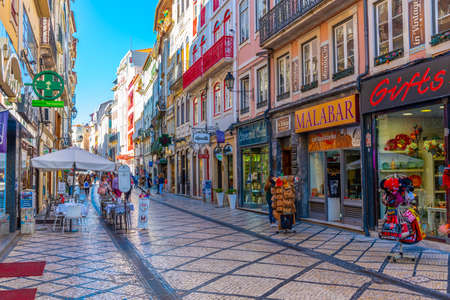 COIMBRA, PORTUGAL, MAY 20, 2019: People are strolling through boulevard Ferreira Borges at central Coimbra, Portugal Stock Photo