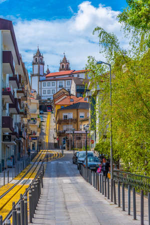 VISEU, PORTUGAL, MAY 20, 2019: Tram line leading to the old town of Viseu, Portugal