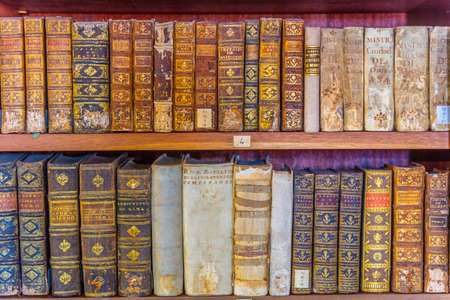COIMBRA, PORTUGAL, MAY 21, 2019: Books in the shelves of Joanina library at the Coimbra university in Portugal