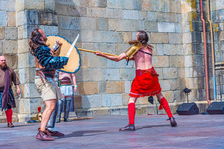 BRAGA, PORTUGAL, MAY 23, 2019: Gladiator show during Braga Romana festival reminding roman heritage of the city of Braga, Portugal