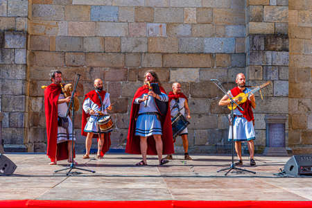 BRAGA, PORTUGAL, MAY 23, 2019: Musicians performing traditional roman music during Braga Romana festival in Portugal