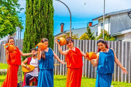 BRAGA, PORTUGAL, MAY 23, 2019: Musicians performing traditional roman music during Braga Romana festival in Portugal