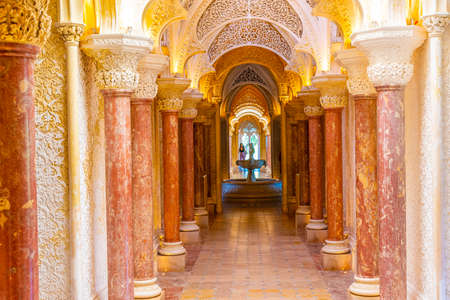 SINTRA, PORTUGAL, MAY 30, 2019: Interior of Palace of Monserrate at Sintra, Portugal