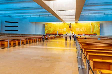 FATIMA, PORTUGAL, MAY 27, 2019: Interior of basilica of holy trinity in Fatima, Portugal