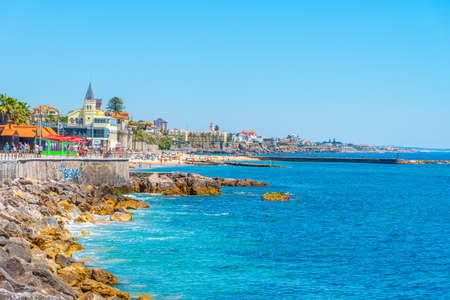ESTORIL, PORTUGAL, MAY 31, 2019: People are strolling on seaside of Estoril, Portugal Editorial
