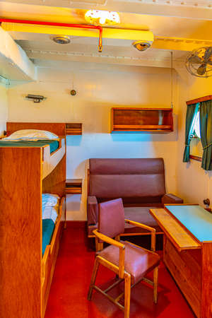VIANA DO CASTELO, PORTUGAL, MAY 24, 2019: Cabins inside of Gil Eannes ship moored at Viana do Castelo in Portugal