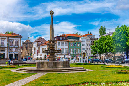 BRAGA, PORTUGAL, MAY 22, 2019: View of square of Carlos Amarante in Braga, Portugal