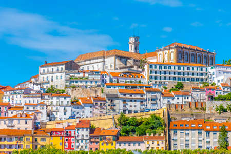 View of cityscape of old town of Coimbra, Portugal Editorial