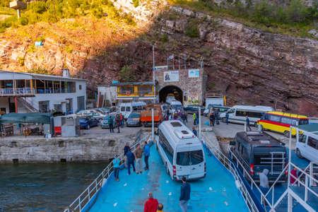 LAKE KOMAN, ALBANIA, SEPTEMBER 21, 2019: Ferry pier at Komani lake in Albania