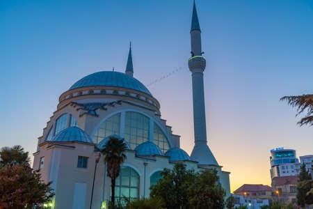 Sunset view of Ebu Bekr mosque in Shkoder, Albania
