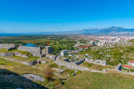 City of Shkoder and ramparts of Rozafa castle in Albania