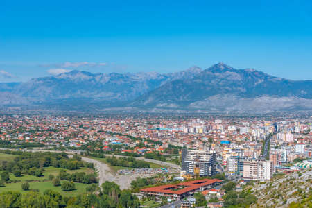 Aerial view of Shkoder from Rozafa castle in Albania