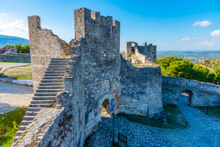 Tower guarding entrance to Berat castle in Albania
