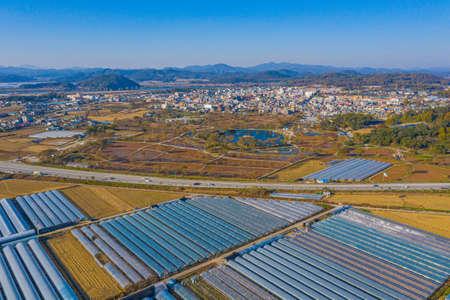 Aerial view of greenhouses in Buyeo, Republic of Korea Reklamní fotografie