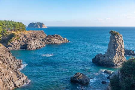 Aerial view of Oedolgae rock at Jeju island, Republic of Korea
