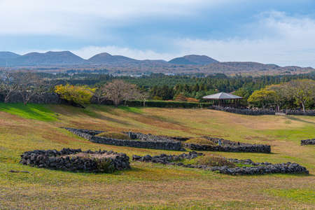 Meadow at Sangumburi crater at Jeju island, Republic of Korea
