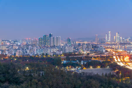 Night aerial view of downtown Seoul from Haneul park, Republic of Korea Banco de Imagens