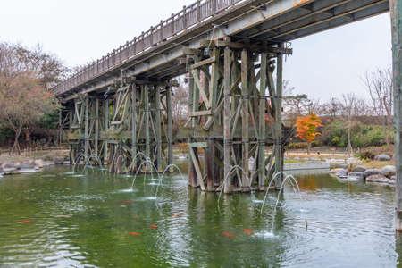 Pond inside Imjingak unification park at the Republic of Korea