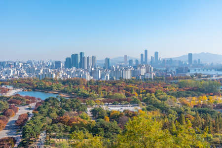Downtown Seoul viewed behind Peace park, Republic of Korea