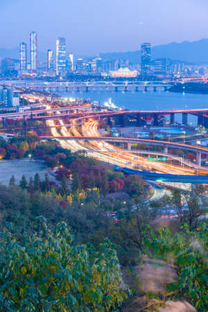Sunset aerial view of downtown Seoul from Haneul park, Republic of Korea 版權商用圖片