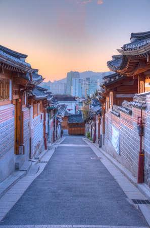 Street at Bukchon hanok village in Seoul, Republic of Korea