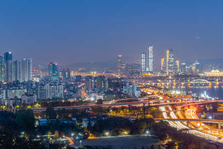 Night aerial view of downtown Seoul from Haneul park, Republic of Korea
