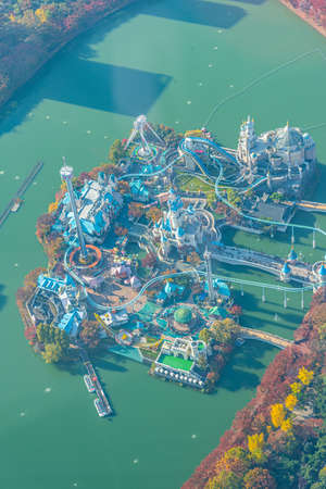 Aerial view of Lotte World Magic Island in Seoul, Republic of Korea