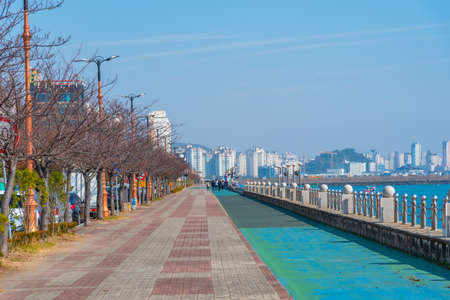 Seaside promenade in Mokpo with a dancing fountain, Republic of Korea