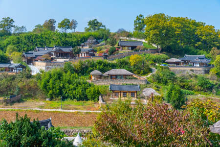 Traditional houses at Yangdong folk village in the Republic of Korea