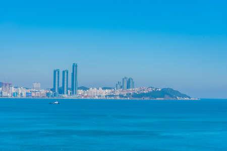 Panorama of skyscrapers behind Haeundae Beach in Busan, republic of Korea