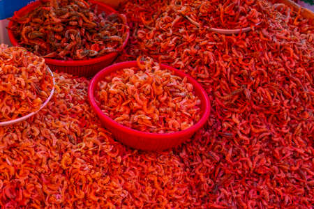 Dried shrimps at Jagalchi fish market in Busan, Republic of Korea