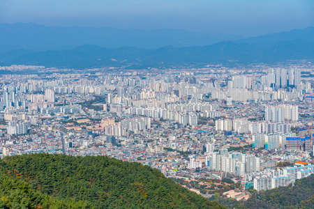 Aerial view of Daegu from Apsan mountain, Republic of Korea