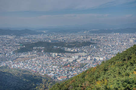 Aerial view of 83 tower from Apsan mountain in Daegu, Republic of Korea